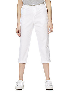 F&F Turn-Up Cropped Trousers - White