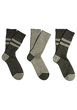 F&F 3 Pair Pack of Chunky Knit Thermal Socks - Grey