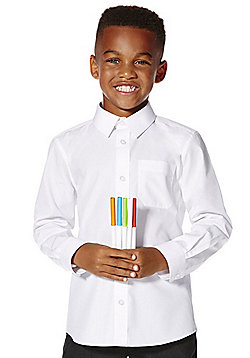 F&F School 2 Pack of Boys Easy Iron Long Sleeve Plus Fit Shirts - White