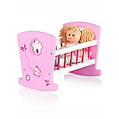 Leomark Wooden Doll's Cradle with Doll