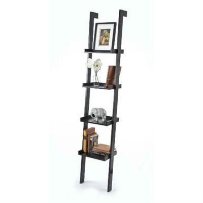 Sennen Ladder Shelf Bookcase - BLACK