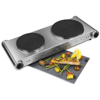 Andrew James Double Electric Hob - Portable 2 Ring Hot Plate in Stainless Steel