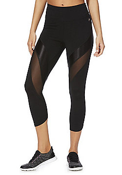 F&F Active Mesh Panel Cropped Leggings - Black