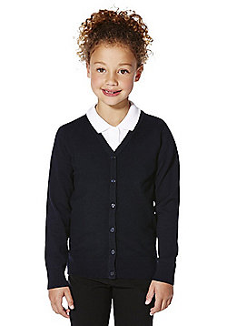 F&F School Girls Ribbed Cardigan with As New Technology - Navy