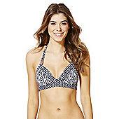 F&F Luxury Geo Print Halterneck Bikini Top - Navy & White