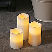 Set of 3 Battery Amber & Colour Changing LED Wax Candles