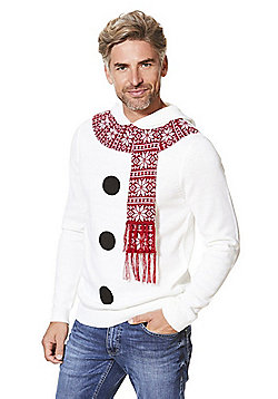 F&F Snowman Hooded Christmas Jumper with Scarf - White
