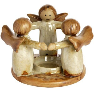 Circle Of Angels Ceramic Amazing Tea Light Small Candle Holder