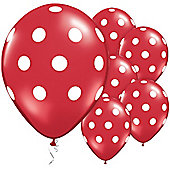 Red & White Polka Dots 11 inch Latex Balloons - 25 Pack