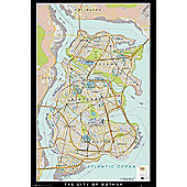 Batman Begins Gotham Map Poster