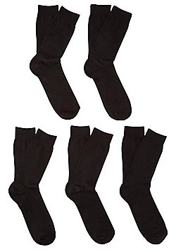 F&F 5 Pair Pack of Fresh Feel Socks - Black