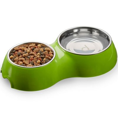 Andrew James Double Dish Pet Feeding Bowl in Green