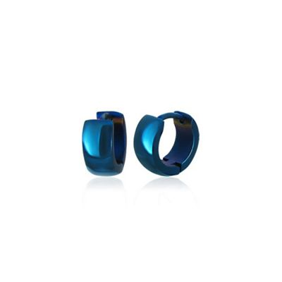Urban Male Electric Blue Finish Stainless Steel Men's Hoop Earrings
