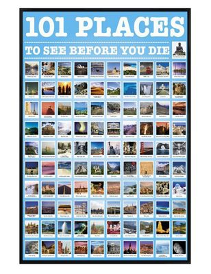 Gloss Black Framed 101 Places To See Before You Die Poster