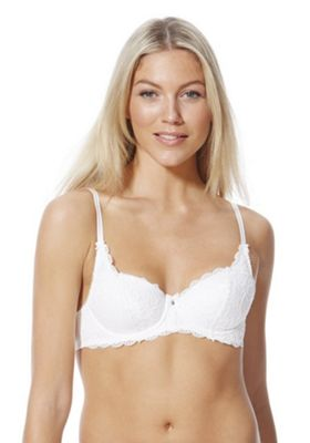 F&F Lace Padded Underwired Bra 38C White