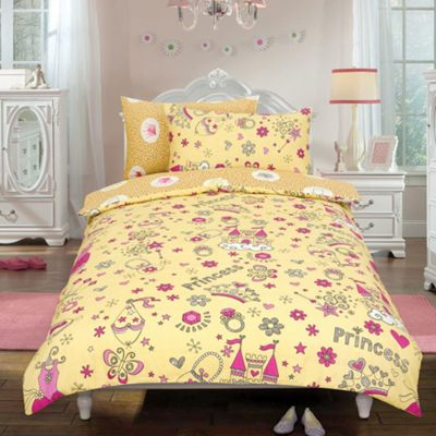 Princess 'Crown' Cream Reversible Rotary Single Bed Duvet Quilt Cover Set