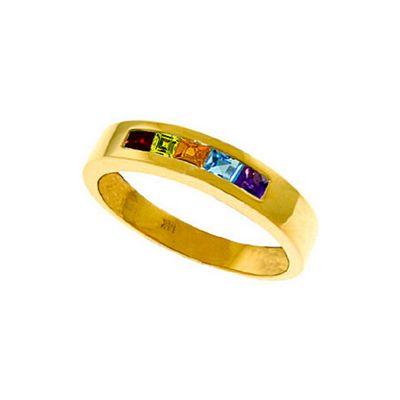 QP Jewellers 0.60ct Gemstone Princess Prestige Ring in 14K Gold - Size M 1/2