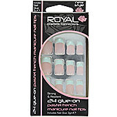 Royal 24 Glue-On Pastel French Manicure Nail Tips-Teal