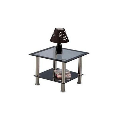 Harlequin Clear Glass with Black Lamp Table