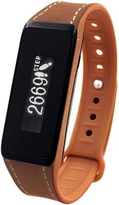 Archon Touch Brown Leather Smart Fitness Wristband with OLED Touchscreen