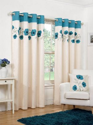 Hamilton McBride Denby Lined Ring Top Teal Curtains - 66x54 Inches (168x137cm)