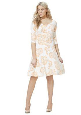 Feverfish Floral Print Velour Flared Dress Multi 10