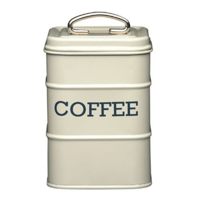 Living Nostalgia Vintage Coffee Storage Tin, Cream