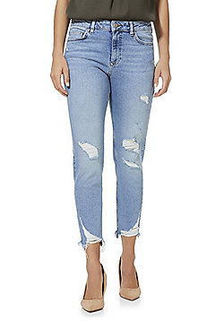 F&F Mid Rise Chewed Hem Relaxed Skinny Jeans - Light wash