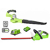 Greenworks 24V Hedge Cutter 54cm, 24v Blower, 2Ah Battery and Charger