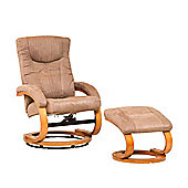 Sofa Collection Cabana Swivel Chair With Massage And Heat Function And Footstool - Light Brown