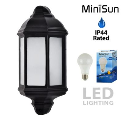 Banbury Flush Outdoor LED Wall Lantern in Black