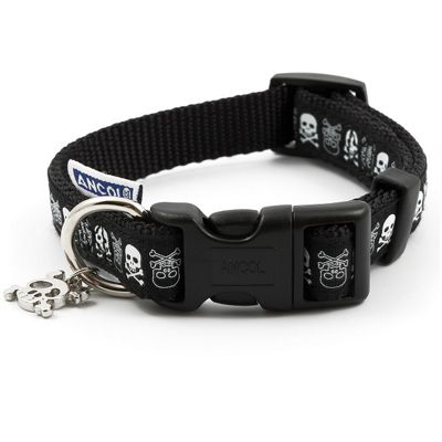 Ancol Black Adjustable Skull Collar - 1-2