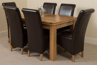 Richmond Solid Oak Extending 140 - 220 cm Dining Table with 6 Brown Montana Leather Dining Chairs