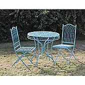 Blue Wrought Iron Bistro Set
