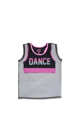 F&F Active Dance Crop Top and Mesh Vest Top Black/Pink 5-6 years