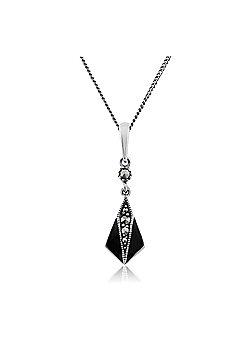 Gemondo Sterling Silver 0.10ct Marcasite & Black Enamel Art Deco Pendant on 45cm Chain