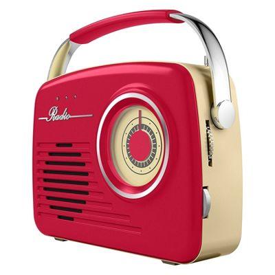 Akai AM/FM Retro Radio Red