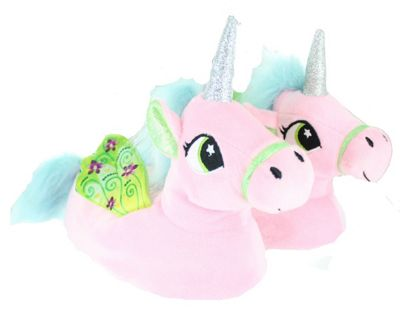 Children's Kids Girls Pastel Pink Unicorn Slippers With Wings-8-9