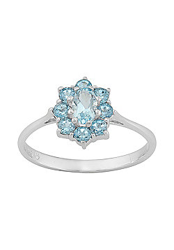 Gemondo 925 Sterling Silver 0.79ct Natural Blue Topaz Classic Floral Cluster Style Ring