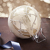 Cream Christmas Bauble With Leaf Design
