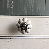 White & Silver Ceramic Drawer Knob