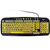 Multimedia Keyboard with Large Print Black Text on Yellow Keys