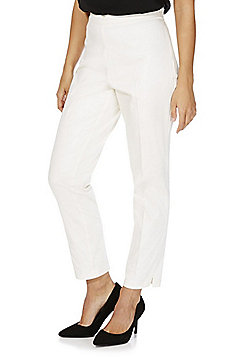F&F Sateen Ankle Grazer Slim Leg Trousers - Cream