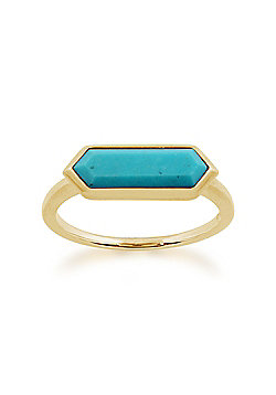 Gemondo 925 Gold Plated Sterling Silver 1.70ct Turquoise Hexagonal Prism Ring