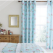 Catherine Lansfield Embroidered Floral Duck Egg 66x72 Inch Eyelet Curtains