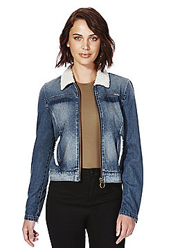 Only Faux Shearling Trim Denim Jacket - Denim