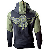 Nintendo Legend of Zelda Medium Mens Hoodie with Zelda Back Design, Green/Black - Gaming T-Shirts