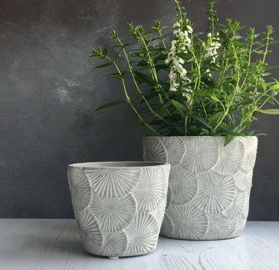 Flower Concrete Plant Pot Cover - Large