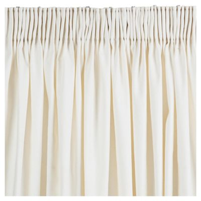 Plain Canvas Pencil Pleat Curtains W163xL229cm (64x90'') - Ivory