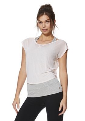 F&F Active 2 in 1 Tie Back T-Shirt and Vest Pink/Grey L